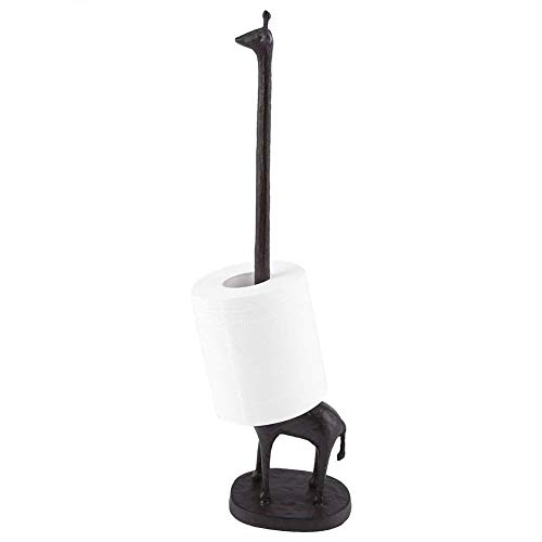 Vintage Rustic Brown, Cast Iron Giraffe Paper Towel Holder and Toilet Tissue Holder ()