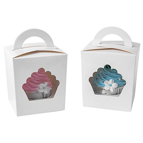 (ONE MORE Individual Cupcake Containers,Large Single Cupcake Boxes Carrier with Insert & Handles and PVC Window For Birthday Party(White 15) )