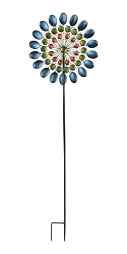 Petal Continental - Continental Art Center CAC3417750 Three Layered Antique Colored Kinetic Spinner Garden Stake, 8