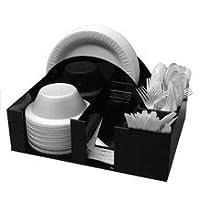 Soporte de plato y tazón de papel Servilletero Dispensador Cuchillo Tenedor Cuchara Organizador, BBQ o Picnic Caddy (3014)
