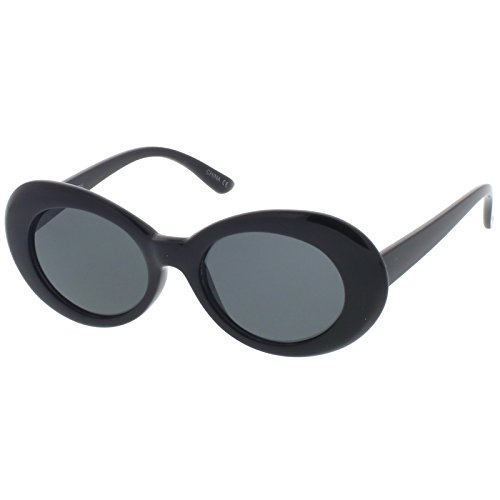sunglassLA - Retro Oval Sunglasses With Tapered Arms Neutral Colored Round Lens 51mm (Black / - Mckinley Sunglasses