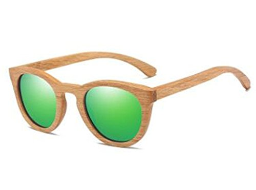 Womens Mens Bamboo Wooden Sunglasses eyewear(green) (Sonnenbrille Mart)