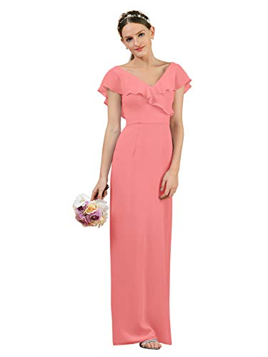 Alicepub Long Chiffon Bridesmaid Dress Prom Gown V-Neck Bridal Party Evening Dress, Coral Pink, US8