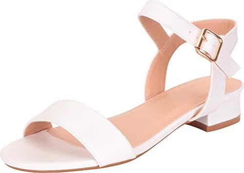 White Polyurethane Strap - Cambridge Select Women's Buckled Ankle Strap Low Block Heel Sandal,7 B(M) US,White PU
