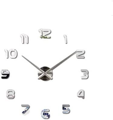 Amazon.com: Irving Modern Minimalist Creative Art Wall Clock Living Room 3D Large Crystal Digital Art Wall Stickers DIY Silent Clock f (Color : Silver): ...