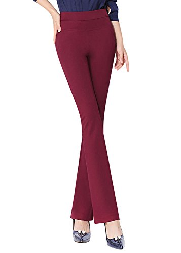 (ABCWOO Women's Stretch Yoga Dress Pants for Office Work High Waisted and Barely Flare Trousers Red US Size 2)