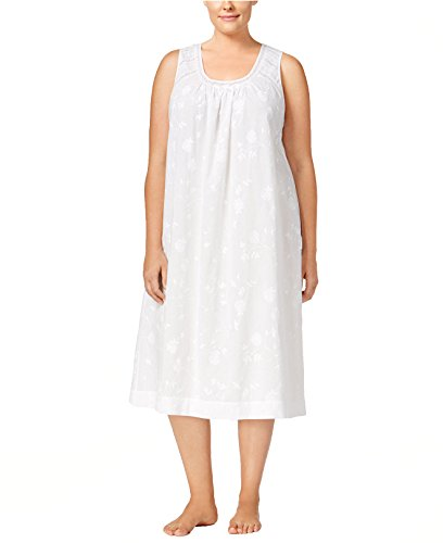 Nightgown Club Charter Cotton (Charter Club Women's Plus Size Lace Trimmed Embroidered Nightgown (1X, White))