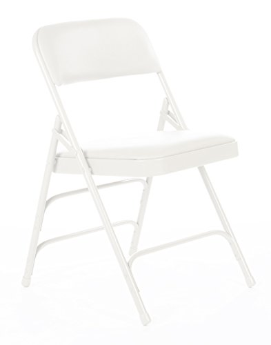 Commercial Vinyl Padded Folding Chair, Triple Cross Bracing, Quad Hinging, 300 lb Tested, 4 Pack (White) by Folding Chairs and Tables
