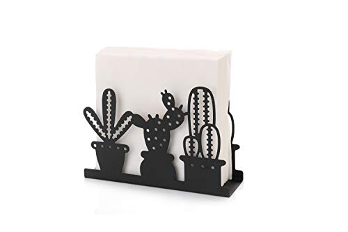 - Paper Napkin Holder for Kitchen Tables and Counter Tops| Black Galvanized Napkin Basket Caddy| Vintage Modern Décor| Farmhouse Decoration (Cactus)