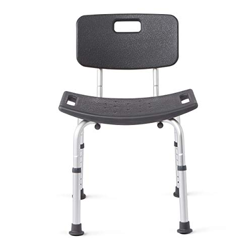 Medline Shower Chair Bath Bench with Back, Supports up to 300 lb, Infused with Microban Antimicrobial Protection, Gray