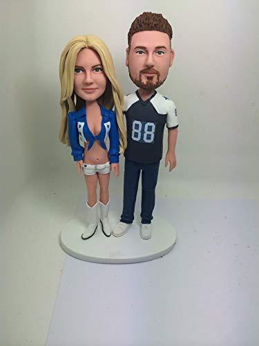 Dallas Cowboys Cheerleader Girlfriend Boyfriend Personalized Dallas Cowboys Football Wedding Cake Topper Figurine Based on Customers' Photos