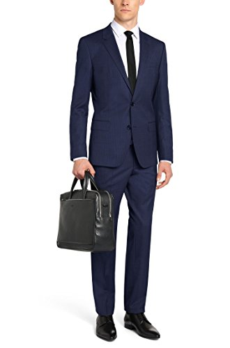 Hugo Boss Checked Extra Slim Fit 2 Piece Men's Suit in New Wool C-Huge1/C-Genius 1 by Hugo (42 Long USA Jacket/36 Waist Pants, Blue) (Long Wool Extra Suit)