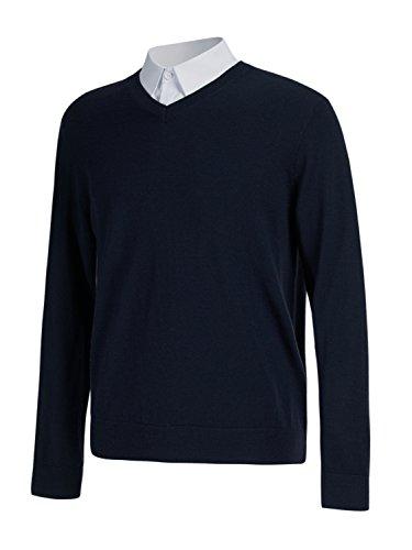 Choies Men's Navy Slim Fit Casual V-Neck Ragg Knitted Jumper Pullover (Merino V-neck Jumper)