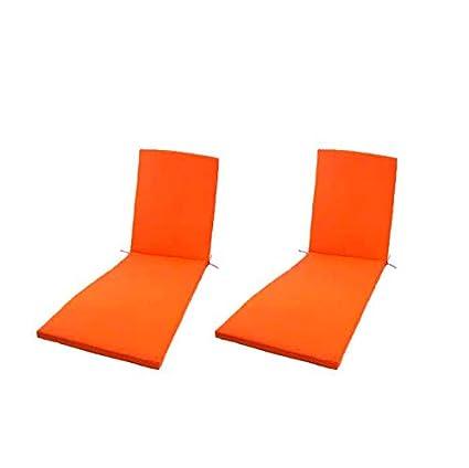 Edenjardi Pack 2 Cojines para Tumbona de Exterior Color Naranja | Tamaño 196x60x5 cm | Repelente al Agua | Desenfundable | Portes Gratis