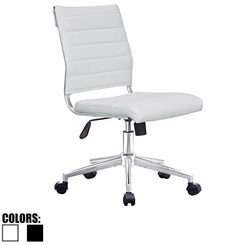 2xhome White Mid Century Modern Ergonomic Executive Mid Back PU Leather No Arms Tilt Adjustable Height with Wheels Lumbar Support Swivel Office Chair Armless for Conference Room Home Task Desk Work