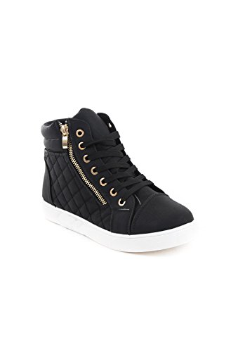 Soho Shoes Women's Leatherette Quilted Zipper Lace Up High Top Sneakers
