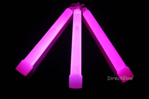 DirectGlow 6 inch 15mm Premium Pink Glow Sticks with Lanyards (6 Pack)
