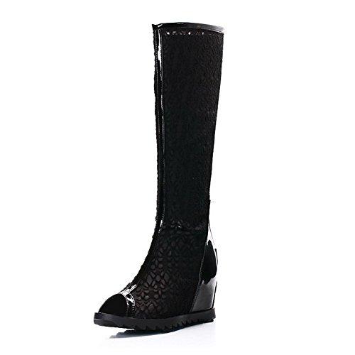 Allhqfashion Mujeres Kitten Heels Soft Material Cremallera Sólida Open Toe Sandals Black