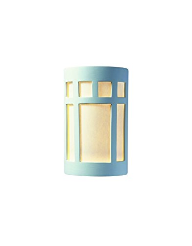 Justice Design Group Lighting CER-5355-BIS Justice Design Group - Ambiance Collection - Large ADA Prairie Window Wall Sconce - Open Top & Bottom - Bisque Finish with White Styrene Shade Unfinished Ceramic
