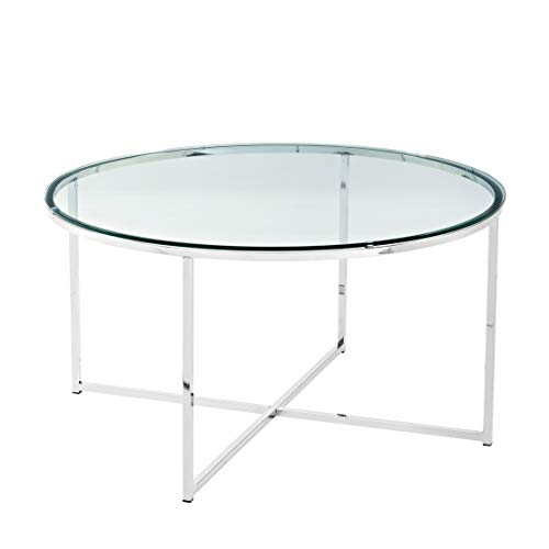 WE Furniture AZF36ALCTGCR Glass Coffee Table, Chrome (Table Coffee Chrome)