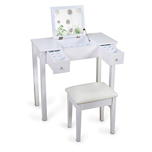 Flip Wooden Stool - GLS White Vanity Table Set Makeup Cabinet with Stool Wooden Jewelry Organizer with Mirror for Girls