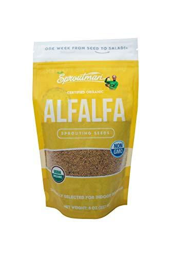 Sproutman 8oz Organic Alfalfa Sprouting Seed - Alfalfa Seeds for Sprouting, High Germination, Non-GMO, Certified Organic Certified Organic Alfalfa Seeds