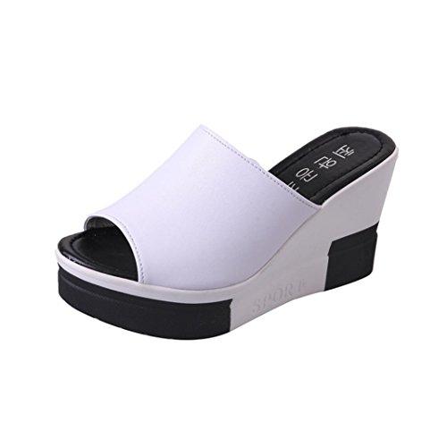 Mules Plate-forme Dames Sandales Pantoufles Harrystore Wedges Talon Haut Des Femmes D'été Chaussures En Cuir Sandales Souples Dames Flip Flops Roman Blanc