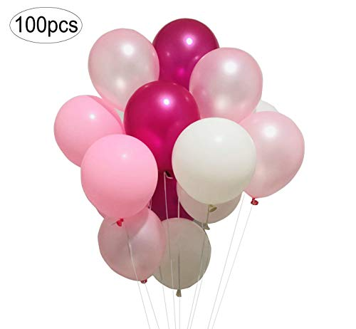 Sogorge Latex Party Balloons 100pcs 12In Hot Pink Round Balloon Macaron 4 Colors for Party Decoration Birthday Wedding Baby Shower (Pink, Light Pink, Rose Red, White)]()