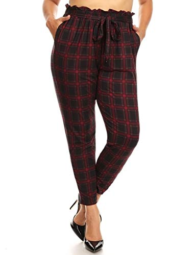 ShoSho Womens Casual Plus Size Loose Fit Semi Harem Pants Paper Bag Wait Bottoms with Self Tie & Pockets Plaid Print Black/Red 3X