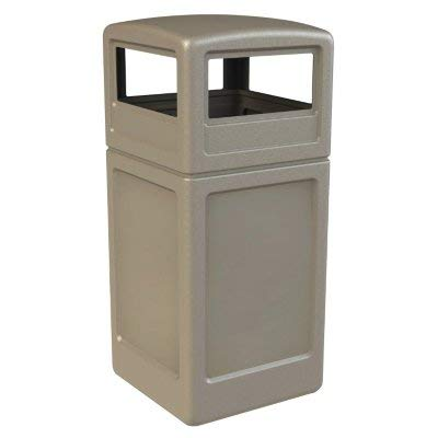 Beige Square Container - Square Waste Container with Dome Lid, 42 Gallon, Beige
