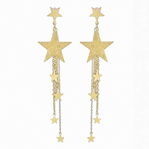 Women Long Drop Dangle Earrings Lucky Star Tassel Stud Earrings Party Bohemia Dress Accessory by Lowprofile Gold ()