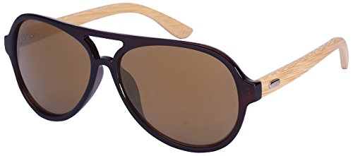 Edge I-Wear Retro Aviators Style Bamboo Wood Sunglasses Color Full Mirrored Lens by