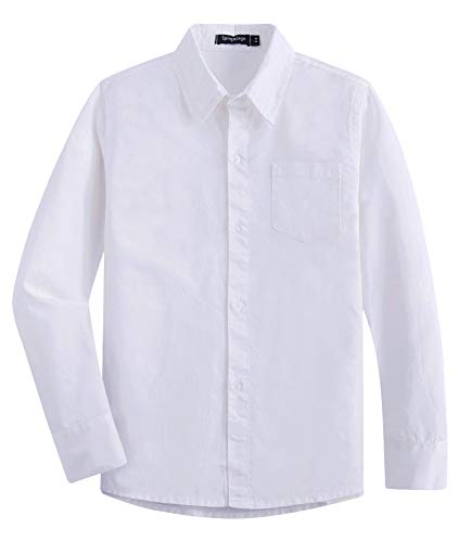 Tall Long Sleeve Twill Shirt - Spring&Gege Boys' Long Sleeve Solid Formal Cotton Twill Dress Shirts White 9-10 Years