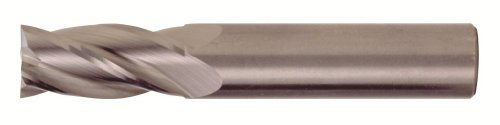 Tin Nose Grain Round (Bassett MSE-4 Series Solid Carbide General Purpose End Mill, TiCN Coated, 4 Flute, 30 Degrees Helix, Radius Corner End, 0.5