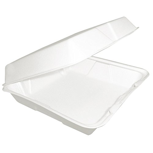 Dart 85HT1R, 8x8x3-Inch Performer White Single Compartment Foam Container with a Removable Hinged Lid, Carryout Food Disposable Containers (100) by DART