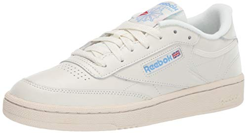 (Reebok Women's Club C 85 Sneaker, Chalk/Paper White/Athletic Blue/Excellent red, 10 M US)