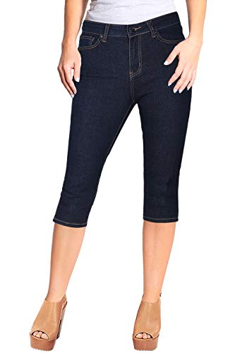 2LUV Women's Stretchy 5 Pocket Skinny Capri Jeans Indigo Blue 7