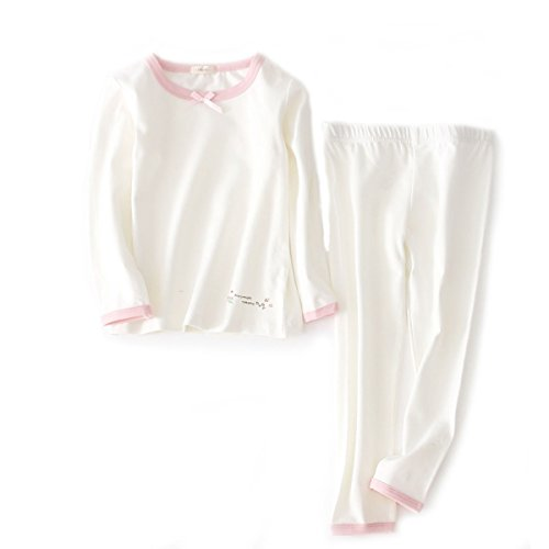 DGAGA Girls Cotton Pajama Set Solid Sleepwear Thermal Sets 2pcs Top and Legging White 4-5Years/120cm