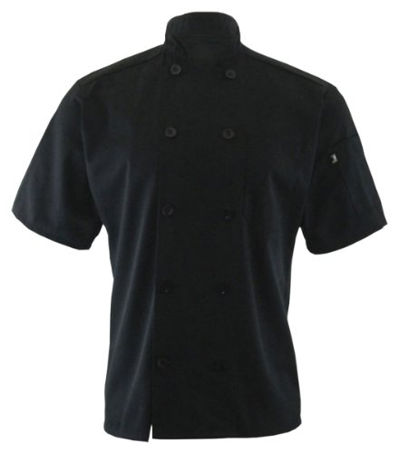 Ed Garments Ten Button Short Sleeve Chef Coat, BLACK, Large. 3306