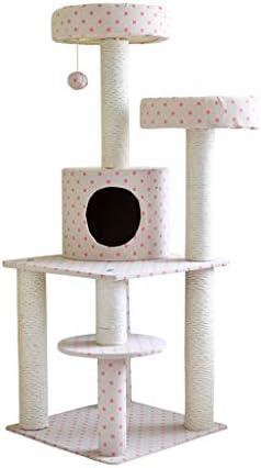 猫の木と塔、サイザルで覆われたマルチレベル猫の木、ひっかいたポスト、ハンギングボールと豪華なアパート、アクティビティセンターの猫タワー家具 (Color : Pink)