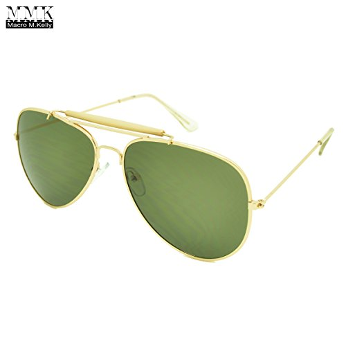 MMK collection Fashion Aviator Style Sunglasses~Designer Sunglasses~Classic Sunglasses~2017 In Trend Sunglasses (Gold/Smoke, 60mm x - Sunglasses 2017 Trends Mens
