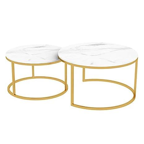 Amazon.com: Juego de mesa de café apilable redonda, mesas ...