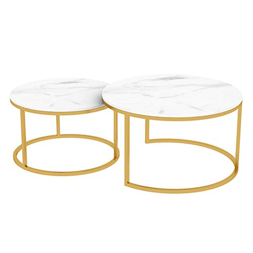 Round Stackable Coffee Table Set Nesting Side Tables For