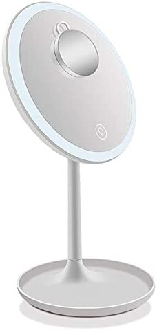 ポータブル化粧鏡 化粧鏡のUSB充電式化粧鏡付1X / 5 X倍率タッチスクリーン調光LEDライトポータブルカウンターのメイクアップミラー(白、ピンク) 回転式化粧鏡 (色 : 白, Size : 20cm)