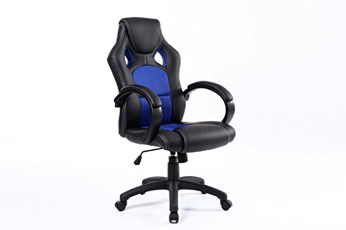 BTEXPERT Executive/High Back/Swivel/Racing/PU Leather/Office Chair, Ergonomic Gaming Computer Desk, Bucket Seat, Tilt Height Adjustment, Headrest Lumbar, Blue