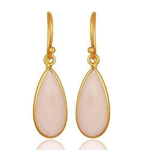 (Rose Chalcedony Dangle Earrings Genuine Gemstone Jewelry for Women)