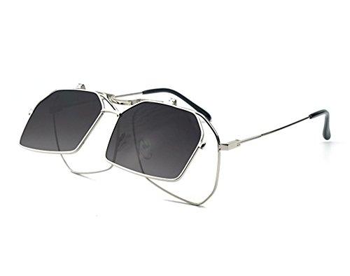 soleil soleil de femmes hommes Huateng Lunettes de Gris pour et Argent gothique lunettes flip vintage qw8wEZxUH