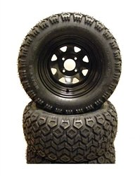 12'' RHOX 8 Spoke Black Golf Cart Wheel & 23'' Mojave II Tire Combo