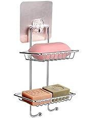 Sooair Zelfklevende zeephouder, douchebakje, dubbellaags, roestvrij staal, voor opslag van keuken en badkamer, zeepbakje, wandmontage, zonder boren