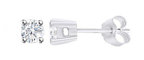 IGI Certified Round Lab Grown Diamond 4 Prong Stud Earrings In 14K Solid WFGte Gold (0.15 cttw, F-G Color, I1-I2 (Wg Round Studs)